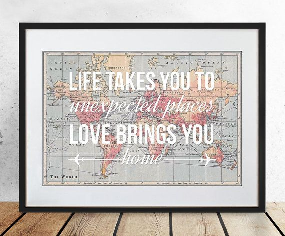 World map poster world map print love quote map of the world world map poster world map print love quote map of the world travel wedding gumiabroncs Images