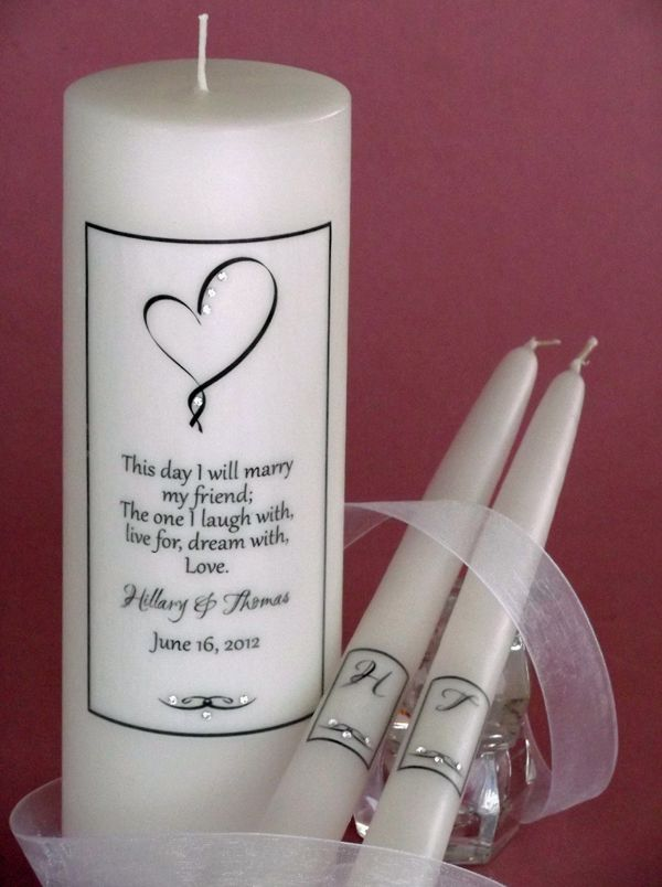 Ribbon Heart Verse Personalized Wedding Unity Candle Set For Your