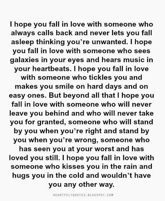 Love Quotes For Him For Her Heartfelt Quotes I Hope You Fall In