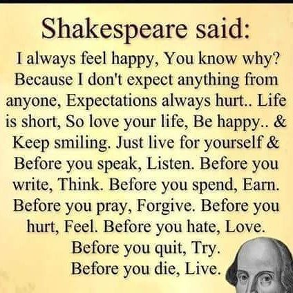 Quotes About Life Shakespeare Said I Always Feel Happy You Know