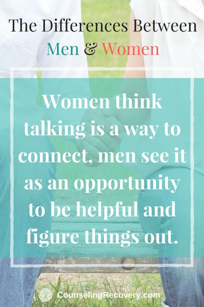 a discussion of the differences of communication between men and women 6 ways men & women communicate differently men and women are different in many she uses communication to explore and organize her thoughts — to discover.