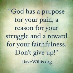 Quotes About Life Dave Willis Quote God Has A Purpose For Your Pain