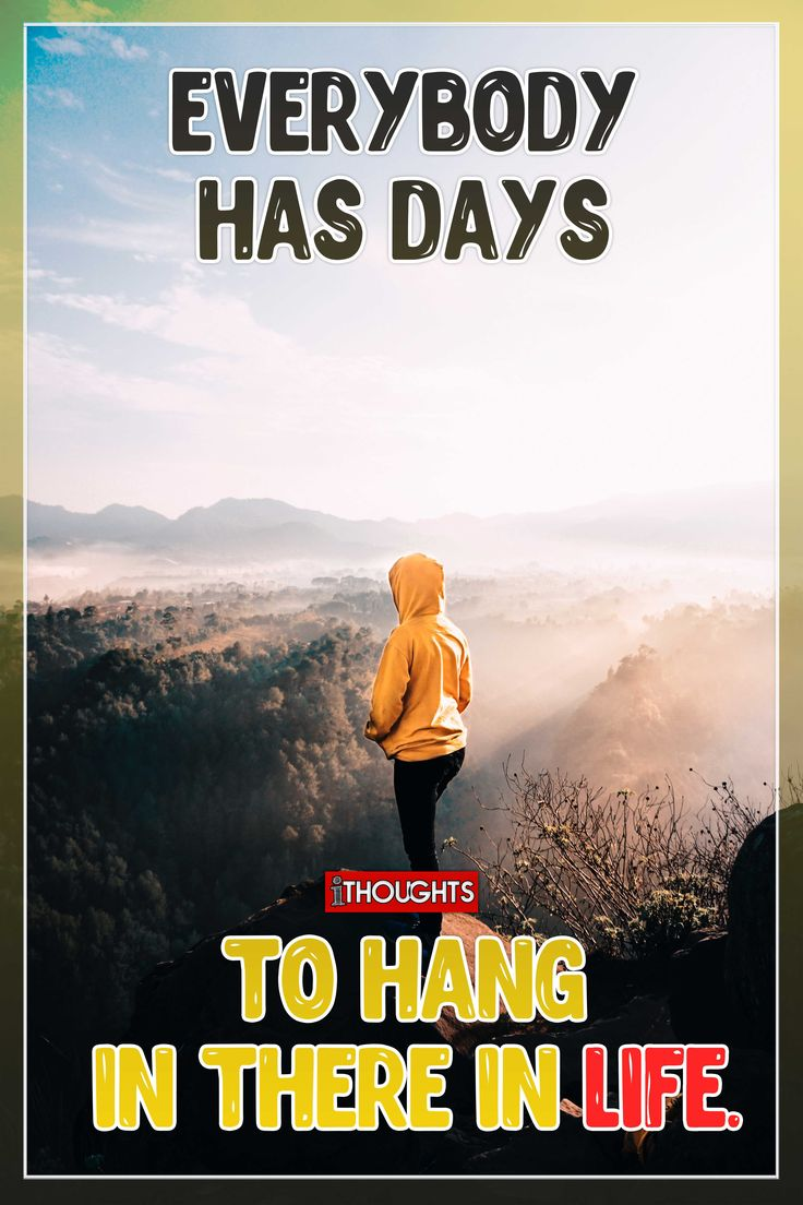 Quotes About Life :Everybody has days to hang in there in ...