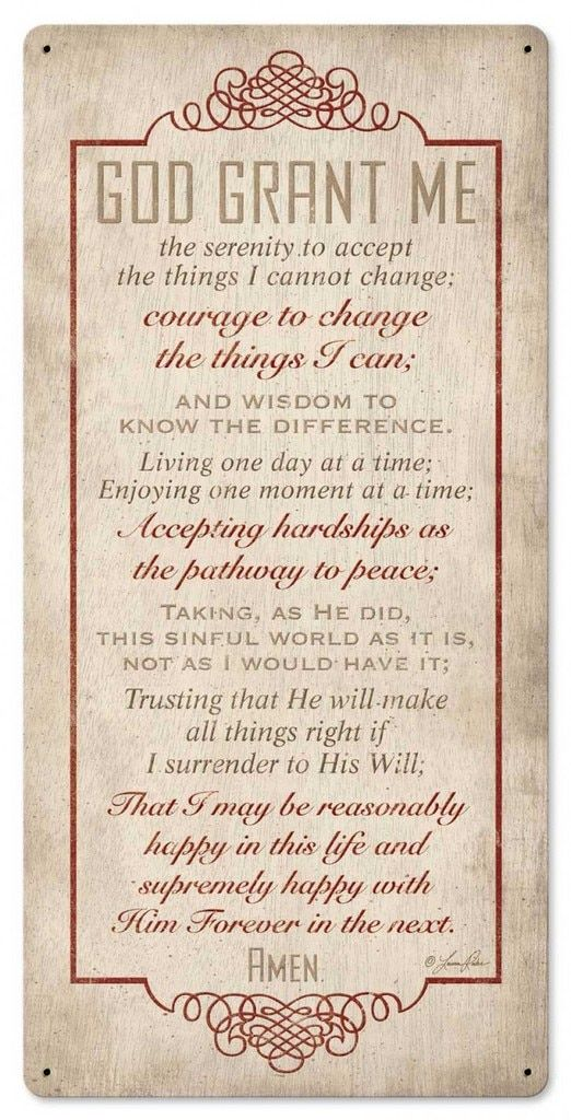 Quotes About Life :Serenity Prayer Metal Sign 12 x 24 Inches ...